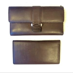 FOSSIL 2 Piece Genuine Leather Wallet! ❤️